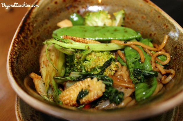 Vegetarian stir-fried noodles at Anise
