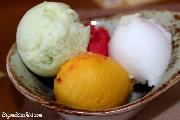 Vegan sorbet selection at Anise