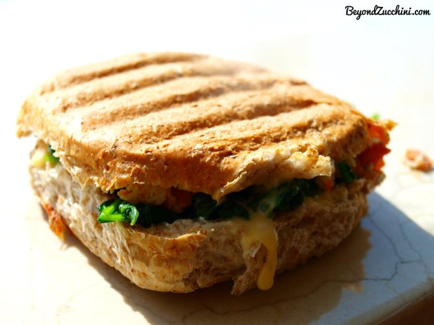 salmon-egg-spinach breakfast burger