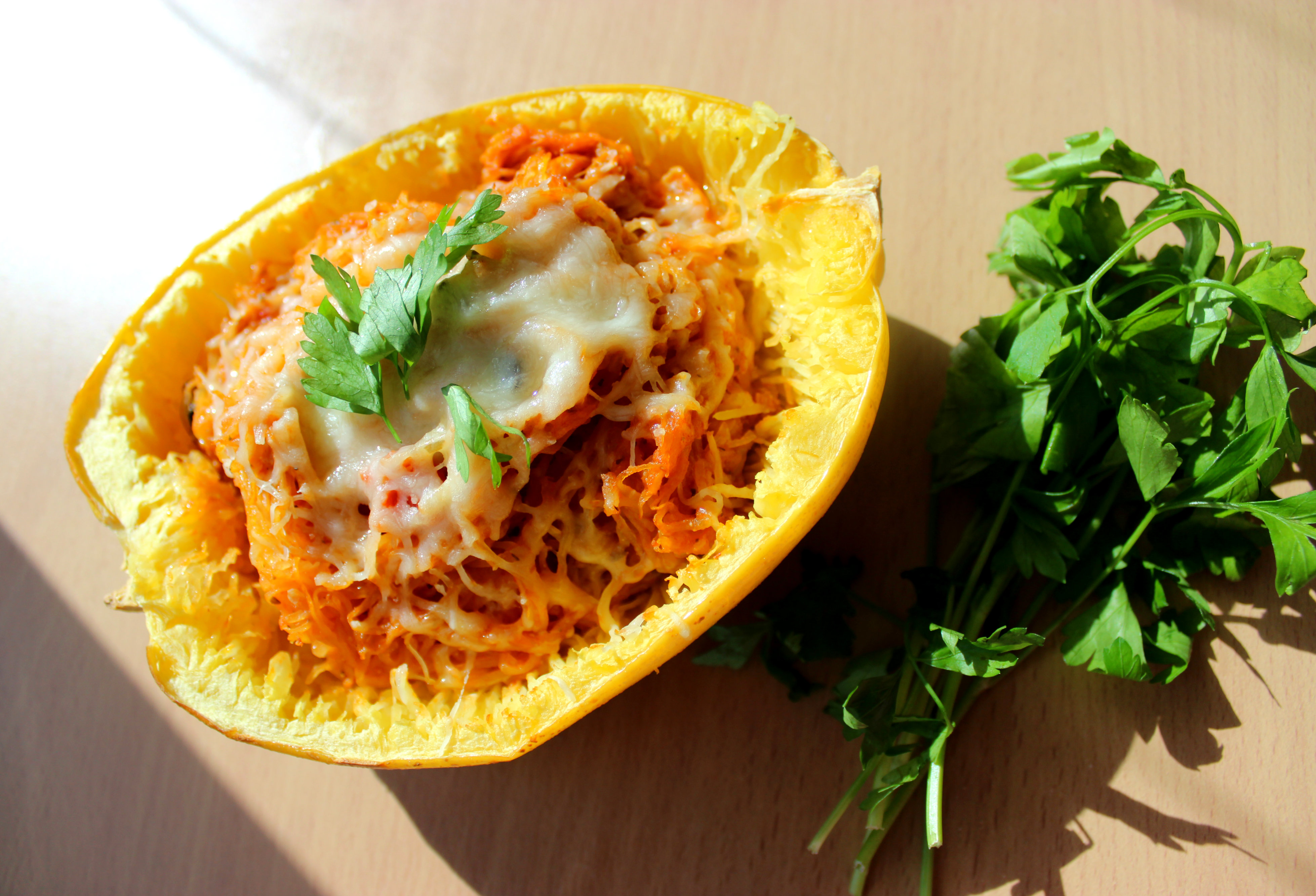 Baked Spaghetti Squash with Spicy Tomato Sauce   Beyond Zucchini